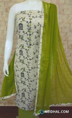 Printed Half white slub cotton unstitched Salwar material with neck patten, green cotton bottom, green nazneen dupatta with tappings,