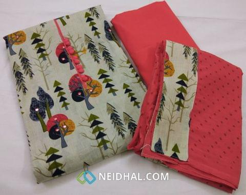 Printed Cotton unstitched salwar material with foil mirror work,  potli buttons on yoke, pink cotton bottom, printed chiffon cotton dupatta required tapping