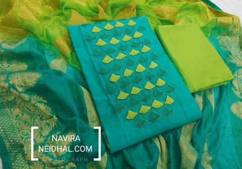 Designer Turquoise Blue Chanderi unstitched Salwar material(requires lining) with Heavy thread and bead work , pipe work on yoke, daman patch, silk cotton bottom, Dual color Kota Silk dupatta with heavy zari work and taping