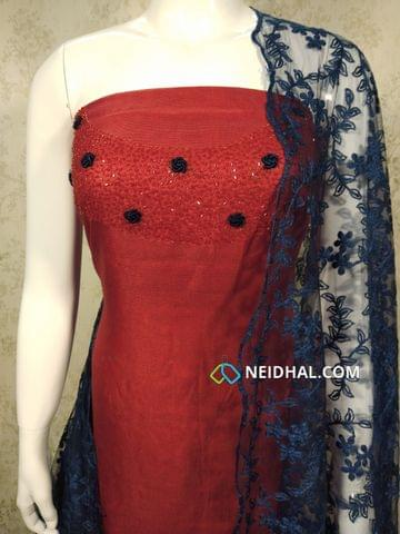 Designer Red modal(Super Net) Fabric unstitched salwar material(requires lining) with heavy pipe work and thread work on yoke, Blue silk cotton bottom, Thread work on super net dupatta with lace taping.