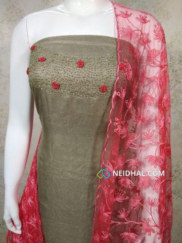 Designer Silver Beige modal(Super Net) Fabric unstitched salwar material(requires lining) with heavy pipe work and thread work on yoke, Red silk cotton bottom, Thread work on super net dupatta with lace taping.
