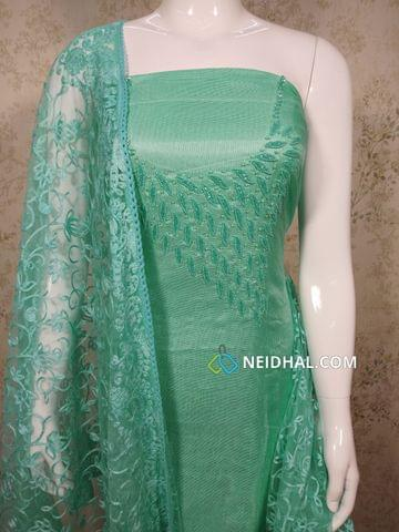 Designer Sea Blue modal(Super Net) Fabric unstitched salwar material(requires lining) with heavy pipe work and Bead work on yoke, Drum dyed Blue Soft silk cotton bottom, Thread work on super net dupatta with lace taping.