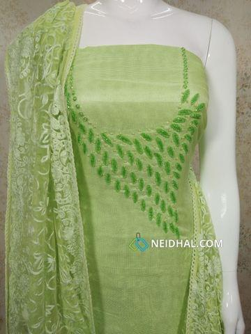 Designer Green modal(Super Net) Fabric unstitched salwar material(requires lining) with heavy pipe work and Bead work on yoke, Drum dyed Green Soft silk cotton bottom, Thread work on super net dupatta with lace taping.