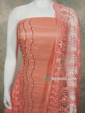 Designer Peach Accord(Super Net) Fabric unstitched salwar material(requires lining) with heavy pipe, bead and thread work on Panel, drum dyed cotton bottom, Thread work on super net dupatta with lace taping.