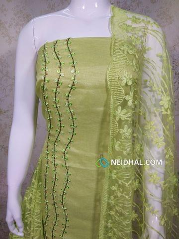 Designer Green Accord(Super Net) Fabric unstitched salwar material(requires lining) with heavy pipe, bead and thread work on Panel, drum dyed cotton bottom, Thread work on super net dupatta with lace taping.