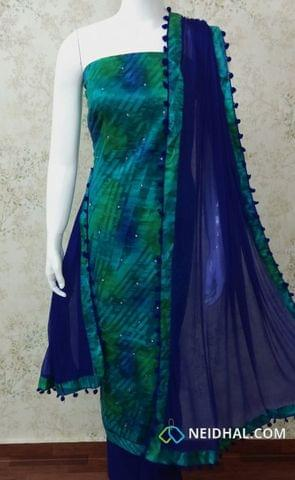 Blue Satin Cotton unstitched Salwar material with foil mirror work, blue cotton bottom,  blue chiffon dupatta with pom pom tapings