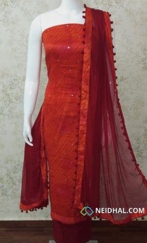 Red Satin Cotton unstitched Salwar material with foil mirror work, maroon cotton bottom,  Maroon chiffon dupatta with pom pom tapings
