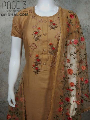PAGE 3: Designer Chanderi unstitched Salwar material(requires lining) with Thread, Zari, Sequins and French knot work on yoke, Red cotton bottom, heavy embroidery work on super net dupatta with zari taping