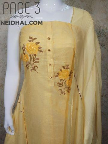 PAGE 3: Designer Yellow Tissue Chanderi unstitched Salwar material(requires lining) with pipe hand work on yoke, plain back side, yellow Taffeta bottom,  gotta work on soft silk dupatta with fancy tassels.