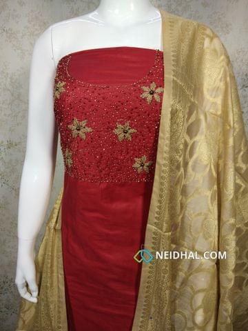 Designer Red Silk Cotton unstitched Salwar material with bead and thread hand work on yoke, beige silk cotton bottom, Zari Thread weaving on benarasi silk dupatta with tassels
