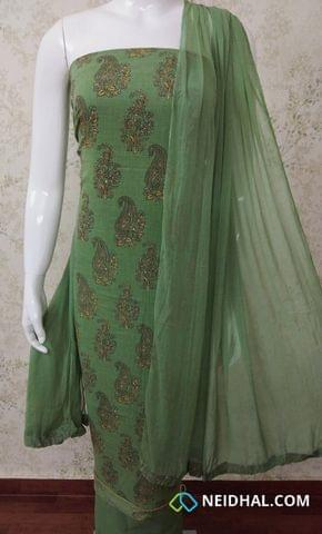 Printed Green Slub Cotton Unstitched salwar material with foil mirror work on front side , green cotton bottom, green chiffon dupatta with tapings.