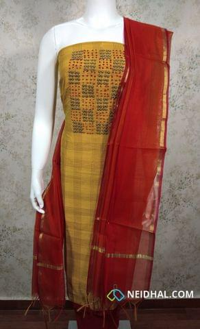 Yellow Silk Cotton unstitched salwar material(requires lining) with bead and french knot work on yoke, red cotton bottom, dual color silk cotton dupatta with tassels