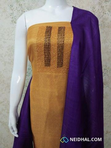 Designer Yellow Accord(Super Net) Fabric unstitched salwar material(requires lining) with heavy bead, pipe work on yoke, purple cotton bottom, pink silk cotton dupatta.(requires taping)