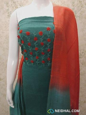 Designer Teal Green Accord (Super Net) Fabric unstitched salwar material(requires lining) with heavy bead and thread work on yoke, orange cotton bottom, Dual color silk cotton dupatta.(requires taping)