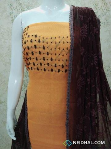 Designer Blue Accord(Super Net) Fabric unstitched salwar material(requires lining) with bead and thread work on yoke, brown silk cotton bottom, Embroidery work on chiffon dupatta with lace taping.