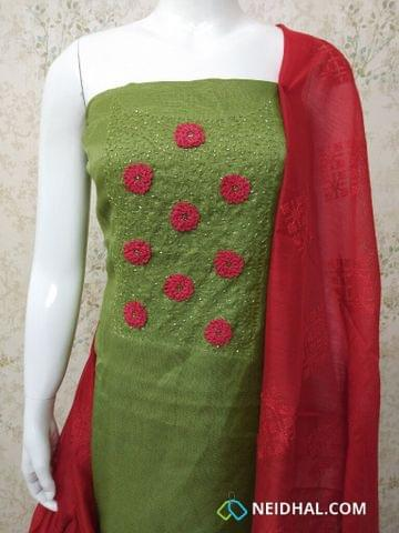 Designer Green Accord (Super Net) Fabric unstitched salwar material(requires lining) with heavy bead and thread work on yoke, red silk cotton bottom, Embroidery work on silk cotton dupatta with tassels