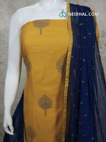 Mehandi Yellow Chanderi unstitched Salwar material(requires lining) with Zari embroidery work on front side, plain back, Blue cotton bottom, blue chiffon dupatta with dew drop work with taping.