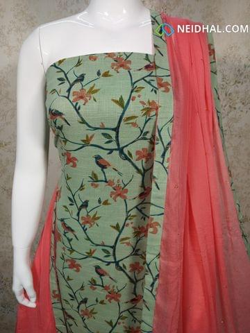 Green Slub Cotton Unstitched salwar material(requires lining) with golden Prints, pink cotton bottom, pink chiffon dupatta with tappings.