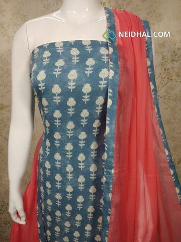Printed Blue Rayon Unstitched salwar material, pink cotton bottom, pink chiffon dupatta with tapings.