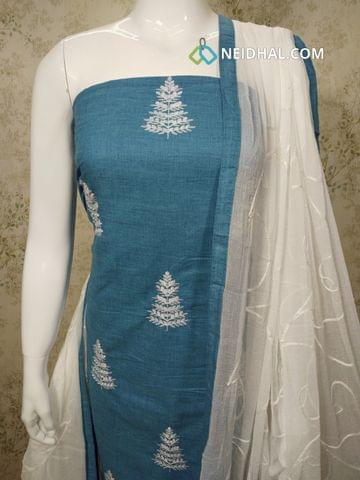 Blue Cotton unstitched Salwar material with embroidery work on front side, plain back side, chikan wark on white cotton bottom, Embroidery work on white chiffon dupatta with tapings.