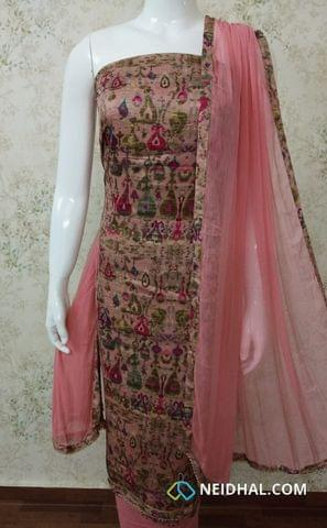 Digital Printed Pink Satin Cotton unstitched salwar material, pink cotton bottom, pink chiffon dupatta with tapings