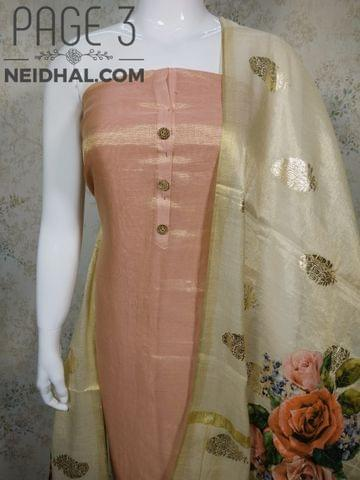 PAGE 3: Designer Peach Tissue Silk unstitched Salwar material(requires lining) with wodden buttons  on front sided work, plain back side, peach taffeta bottom, Digital printed  Tissue silk dupatta with  tassles.