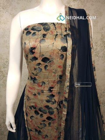 Leaf Printed Beige Satin Cotton Unstitched salwar material, grey cotton bottom, grey chiffon dupatta with tapings.