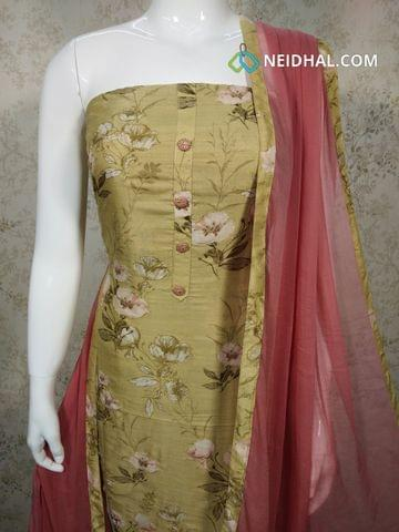 Digital Printed Mehandhi Green Soft Slub Silk Cotton Unstitched salwar material(requires lining) with zari thread work on front side, pink cotton bottom,pink chiffon dupatta with tappings.