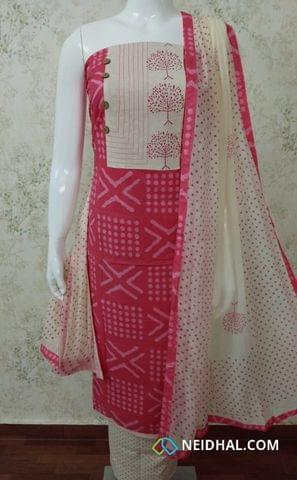 Printed Pink cotton Unstitched salwar material with patch work on  yoke, Printed cream cotton bottom, printed cream chiffon dupatta with tapings.