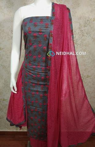 Mughal Printed  Grey Cotton unstitched Salwar material with thread work on front side , plain back side, pink cotton bottom, printed chiffon dupatta with tapings.