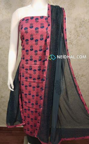 Mughal Printed Pink Cotton unstitched Salwar material with thread work on front side , plain back side, grey cotton bottom, printed chiffon dupatta with tapings.