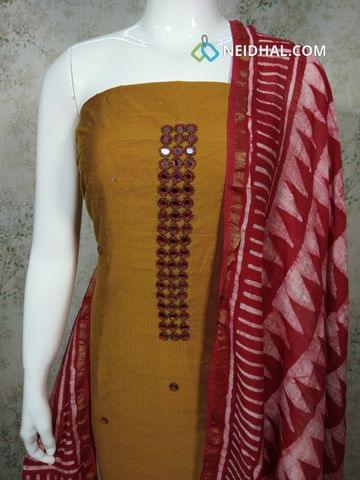 Premium Fenu Greek Yellow Dupion silk Unstitched salwar material withreal mirror, bead work on yoke,batik printed red cotton bottom, Batik Printed red cotton dupatta with tassels..