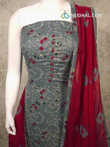 Printed Blueish Grey Cotton unstitched salwar material with potli buttons on yoke, red cotton bottom, printed chiffon dupatta with tapping