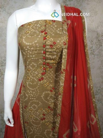 Printed Light Brown Cotton unstitched salwar material with potli buttons on yoke, red cotton bottom, printed chiffon dupatta with tapping