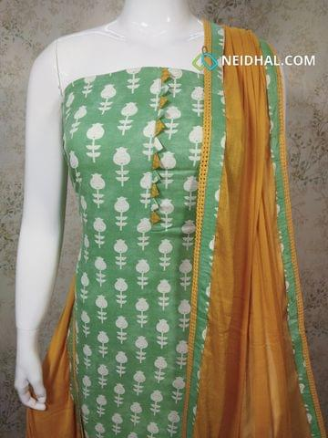 Printed Light Green Cotton unstitched salwar material , fenu greek yellow cotton bottom, fenu greek yellow chiffon dupatta with taping