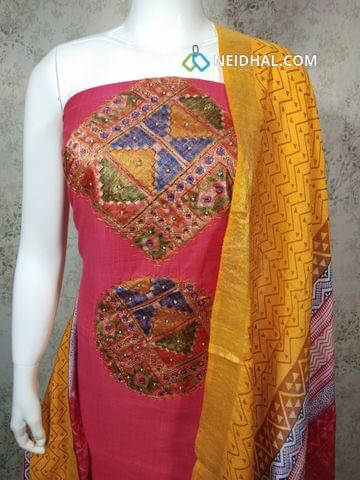 Designer Pink South Chanderi unstitched salwar material with foil mirror, bead and zari work on yoke, Daman patch, yellow cotton bottom, Soft Slub Chanderi silk dupatta with tassels(requires tapings)