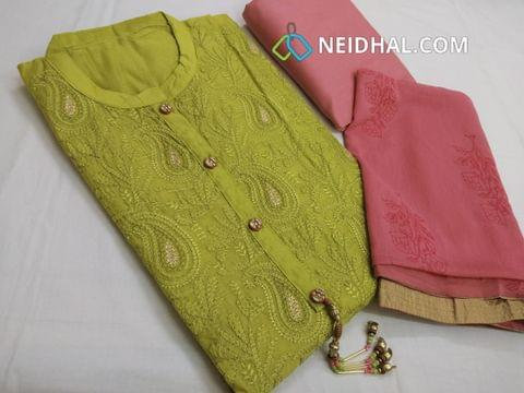 Designer Green Silk Cotton unstitched Salwar material with heavy thread and zari embroidery work on front side, plain back side, pink cotton bottom, golden printed pink chiffon dupatta with tapings