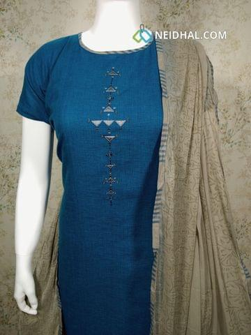 Designer Blue Mercerised Cotton unstitched salwar material with thread work on yoke, printed cotton bottom, printed grey chiffon dupatta with tapings