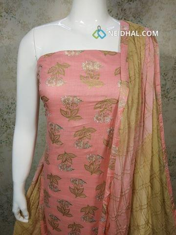 Peachish Pink Slub Cotton unstitched salwar material with golden prints, golden printed beige cotton bottom, Golden Printed dual color chiffon dupatta with tapings.