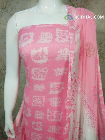 Printed Pink Cotton Unstitched salwar material, daman patch, printed cotton bottom, printed chiffon dupatta with tapings..