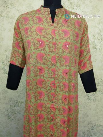 Printed Multicolor Modal fabric Kurti with sequence work on front side, front open placket (2 buttons can be unbuttoned)(Refer Size chart, 3rd pic before ordering, No Refund, No Return, No exchange, No cancellation), Mandarin collar, Height 45,3/4 sleeves with flaps, front and side slits