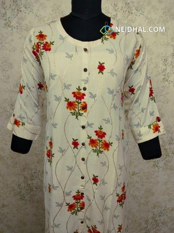 Printed Cream cotton Kurti with  front closed placket (Refer Size chart, 3rd pic before ordering, No Refund, No Return, No exchange, No cancellation), Round Neck, Height 43,3/4 sleeves with flaps, front and side slits