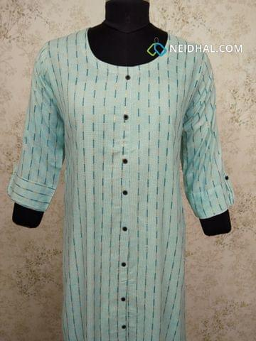 Printed Blue Modal Kurti with  front closed placket (Refer Size chart, 3rd pic before ordering, No Refund, No Return, No exchange, No cancellation), Round Neck, Height 44,3/4 sleeves with flaps, front and side slits