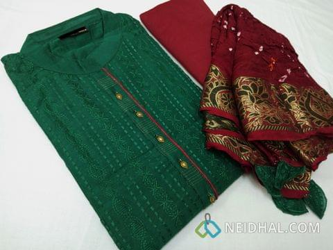 Designer Green Chanderi unstitched salwar material(requires lining) with metal buttons, Heavy embroidery work on front side, maroon cotton bottom, maroon silk dupatta with Real Bandini Tye and Dye, Traditional Zari weaving border and tasslels.