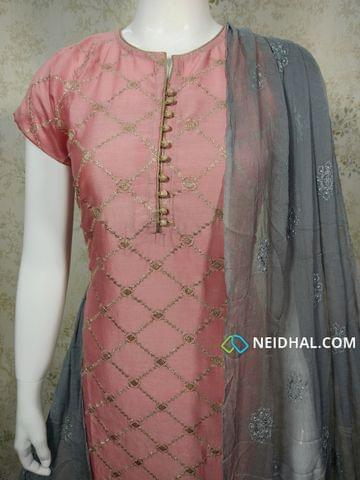 Designer Pink Silk Cotton unstitched salwar material(requires Lining) with neck patten, heavy zari thread work on front side , potli buttons on yoke, plain back side, grey silk cotton bottom,embroidery work on chiffon dupatta with tapings