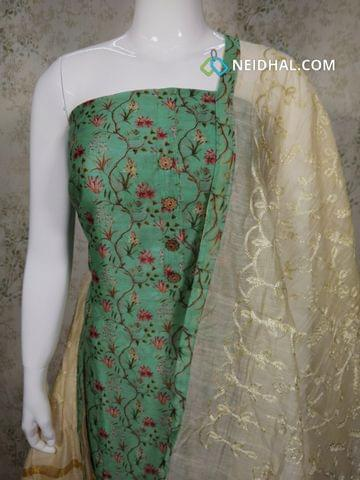Designer floral printed Green Silk Cotton unstitched salwar material with wodden buttons on yoke, cotton bottom, Chiffon dupatta with mini stone work and floral taping