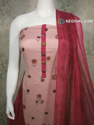 Printed Pink Jute Flex unstitched salwar material with buttons on yoke, pink cotton bottom, printed pink chiffon dupatta with taping