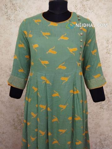 Designer Printed Greenish Grey Slub Cotton Box Pleated flared Kurti (Refer Size chart, 3rd pic before ordering, No Refund, No Return, No exchange, No cancellation), Round Neck, Height 45-46,3/4 sleeves, Pockets on either side.
