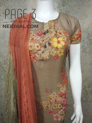 PAGE 3: Designer Floral printed Beige Linen unstitched Salwar material(requires lining) with neck patten, thread work on front side, metal buttons on yoke, plain back side, cotton bottom, embroidery work on chiffon dupatta with tapings