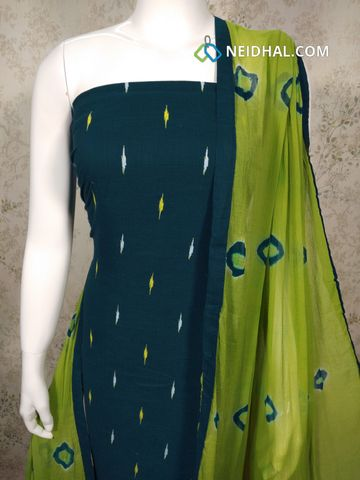 Ikkat Printed Blue Handloom cotton unstitched salwar material, Green cotton bottom, Green chiffon dupatta with taping